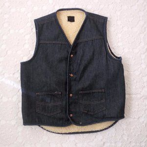 Vtg 70s Sears L Denim Jean Faux Sherpa Vest Retro